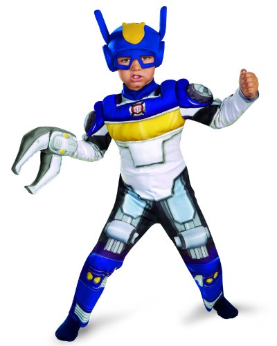 [Disguise Boy's Transformers Chase Rescue Bots Toddler Muscle Costume, 4-6] (Boy Robot Costume)