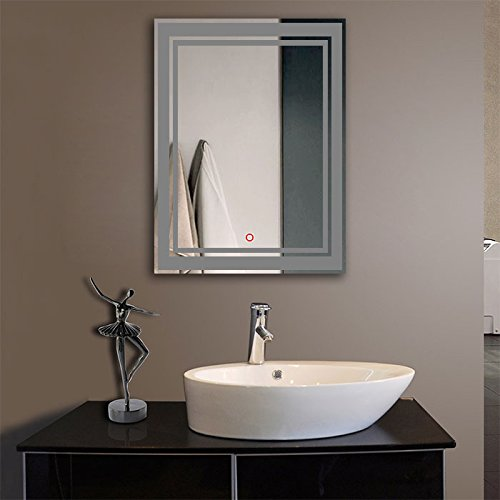 Vertical LED Lighted Vanity Bathroom Silvered Mirror with Touch Button, Make up Mirror Wall Bar Mirror (DK-OD-CK160) (Queen)
