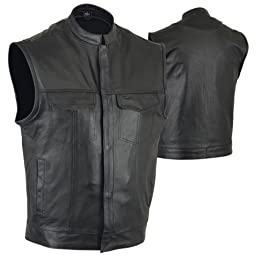 SOA Motorcycle Vest, Gun Pockets, Snaps/Zipper, Naked Cowhide, McVests Label- Medium