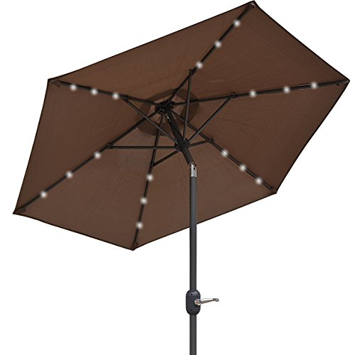 2M 18 LED LIGHTS UMBRELLA SOLAR PATIO GARDEN OUTDOOR SUNSHADE PARASOL TAUPE B
