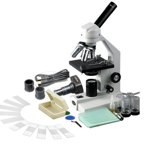 Amscope M500C-P-Pb10 Digital Monocular Compound Microscope, Wf10X And Wf25X Eyepieces, 40X-2500X Magnification, Anti-Mold Optics, Tungsten Illumination, Brightfield, Abbe Condenser, Coarse And Fine Focus, Plain Stage, 110V, Includes 0.3Mp Camera With Redu