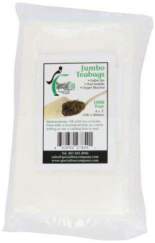 Special Tea Company 4 By 3-Inch 1000-Piece Empty Tea/Herbs Bags, Jumbo