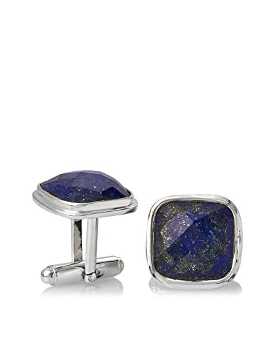 Stephen Oliver Sterling Silver Cushion Shape Lapis Cufflinks, APPROX 10mm x 10mm