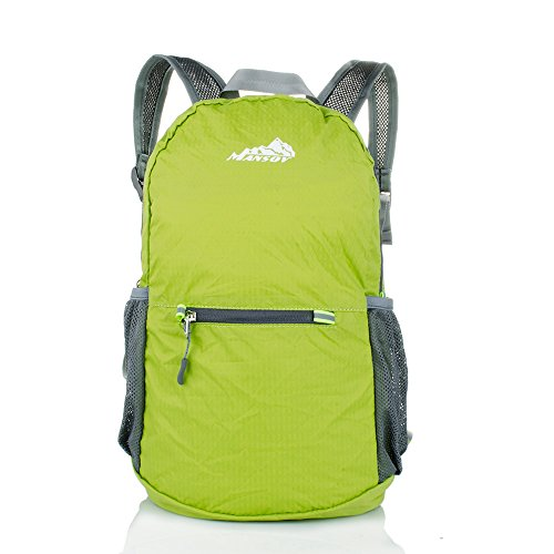 Portable Backpack, Mansov Ultra Lightweight Water Resistant Hiking Backpack For Child Cute Boys and Girls Foldable Travel Trip Durable Outdoor Bags Packable Camping Backpack and Daypack, 20L, Green (Garment Bag Bauer compare prices)