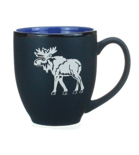 Nostalgic Glass Moose Blue And Black 16 Ounce Coffee Or Tea Mug-Cup