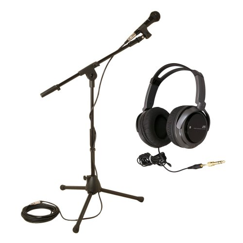 On Stage Ms7515 Microphone Stand Pro-Pack For Kids With Full-Size Headphones (Black)
