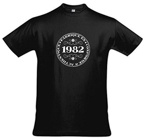 Vintage 1982-Maglietta a maniche corte, da uomo nero Medium