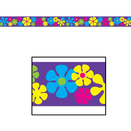Beistle 66156 1-Pack Retro Flowers Party Tape, 3-Inch by 20-Feet - 1