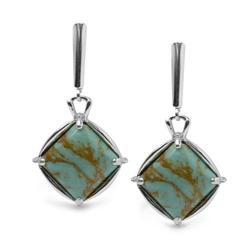 Sterling Silver Kingman Turquoise Blue-Green Diamond-Shaped Earrings