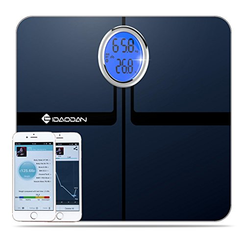 IDAODAN 440 lbs Body Fat BMI Scale and Body Composition Weight Analyzer - Measures Weight, Body fat, BMI, Water, Bone mass, Muscle Mass, Visceral Fat and Calorie, Elegant Black