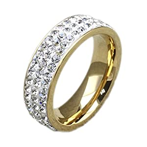 MoAndy Jewelry Stainless Steel Gold Unisexs' Wedding Ring,US 6(7MM) from MoAndy