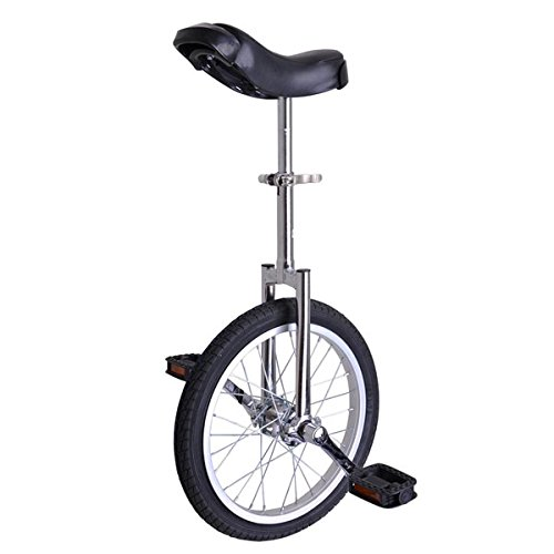 16-Inch-Mountain-Bike-Wheel-Frame-Unicycle-Cycling-Chrome-w-Stand-Comfortable-Release-Saddle-Seat-for-Children-Adult-Balance-Exercise-Training-Heavy-Duty