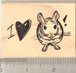 I love my Chinchilla Rubber Stamp