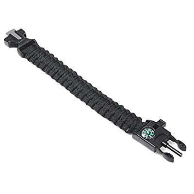 InLife 5 in 1 Outdoor Survival Gear Escape Paracord Bracelet Flint / Whistle / Compass / Scraper from InLife