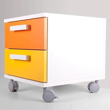 CajonesUnicos - Cajonera modular blanca mack2 40cm naranja amarillo unc3 ruedas