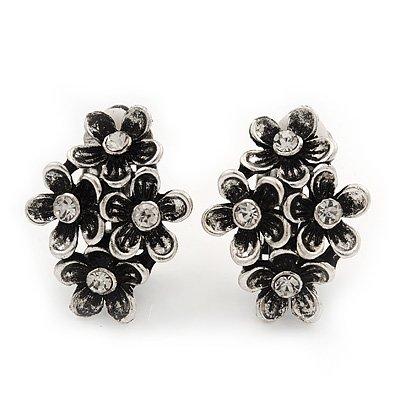 Burn Silver Clear Crystal 'Floral' Clip-On Earrings - 2.5cm Length
