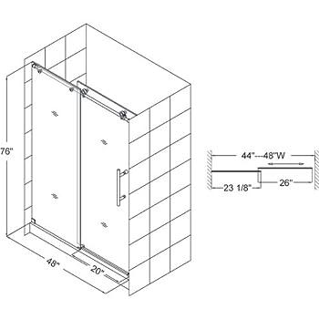 DreamLine Enigma-X 44-48 in. Width, Frameless Sliding Shower Door, 3/8