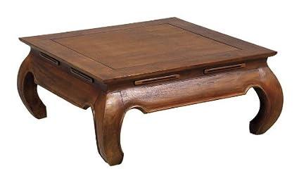 Aubry Gaspard - Mesa de centro de madera de teca, 100 x 100 x 35 cm.