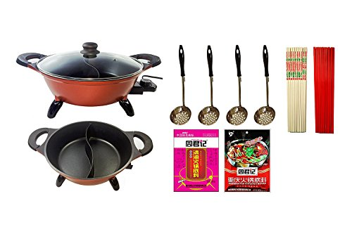 Why Choose Deluxe Asian Electric Hot Pot Starter Kit w/Non-stick Divided Pot - Starter Kit for Asian...