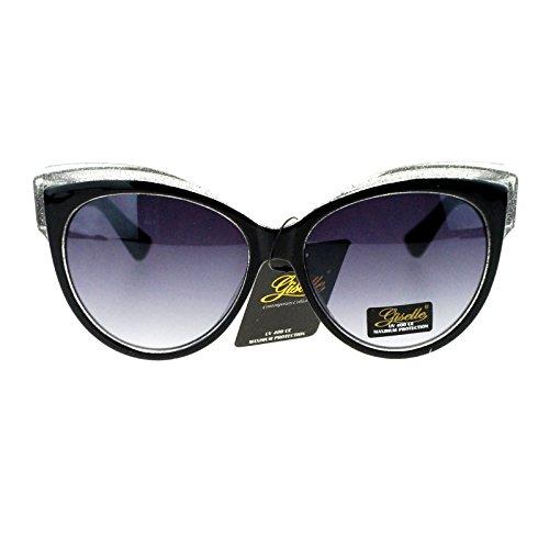 Giselle Womens Oversize Cat Eye Gel Glitter Fashion Sunglasses Black Silver