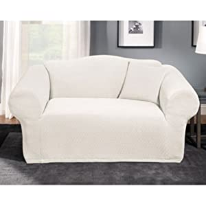 Stretch stone loveseat slipcover color white White loveseat slipcovers