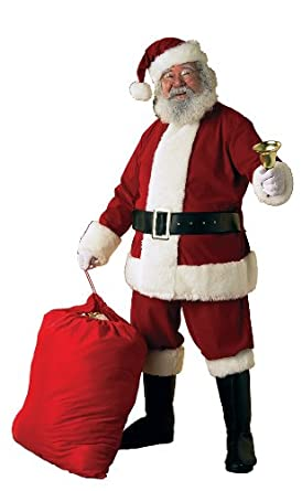 Rubie's Costume Co Deluxe Ultra Velvet Santa Suit, Red/White, X-Large