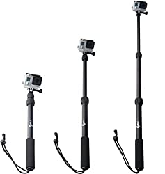 ASCpro GoPro Pole - Waterproof Telescoping Extension Cam Mounts for Your GoPro - For Ski Scuba Surf Backpack - Handmount Accessories - Perfect for Remote Location Self Shots or Swivel for Scenery - Hero 1 2 3 3+ 4 - Protect Your Investment - Lifetime Warranty