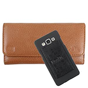 DooDa Genuine Leather Wallet Flip Case Cover With Card & ID Slots For Micromax Bolt A26