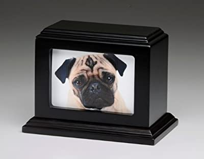 Pet Urn Peaceful Pet Memorial Keepsake Urn,Photo Box Pet Cremation Urn,Dog Urn,Cat Urn ,Small Animal Urn, Size,Large, Color,Mahogany, 60 cu.in