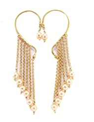 Aria Party Wear Stylish Pearl Gold Plated Dangler Cuff Earring P29