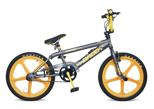 Skyway BMX Bikes http://bmxbikeruk.blog.com/rooster-big-daddy-grey-bmx-bike-with-yellow-skyway-mags/