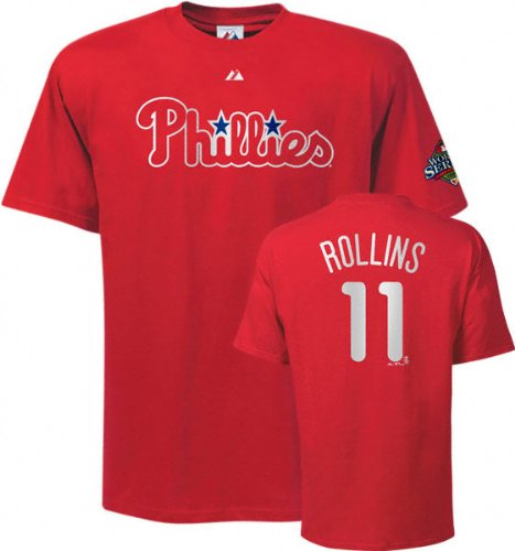 phillies logo world series. player name on number on back and 2008 World Series logo on left sleeve.