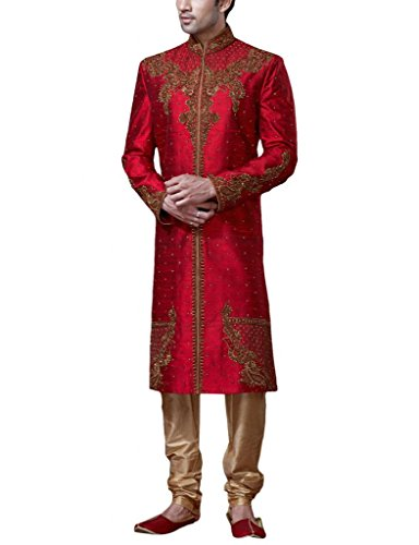 Readiprint Men's Raw Dupion Silk Sherwani (12068_Red and Maroon_32) (multicolor)