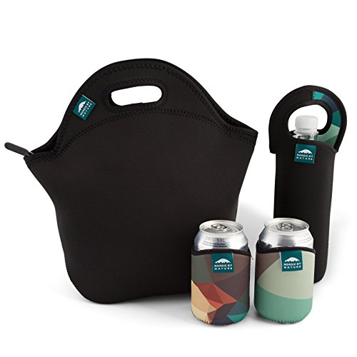 Nordic by Nature Extra Big Insulated Large Neoprene Lunch Bag Set: Tote+Bottle Cooler+2 Can Insulators | 13,5