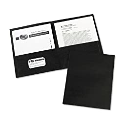 Avery Two-Pocket Embossed Paper Portfolio, 30-Sheet Capacity, Black - 25 ct.(Pack of 2)