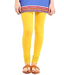 VAG Sales Women's Cotton Leggings (VAG_Yellow-S_Yellow_Small)