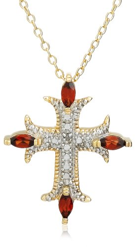 Yellow Gold Plated Sterling Silver Garnet and Diamond Accent Cross Pendant, 18""