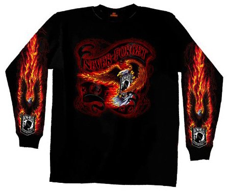 Hot Leathers Never Forget Long Sleeve T-Shirt (Black, X-Large)