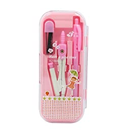 Novias Cute Math Geometry Tool Set 7 Pieces Rulers Protractor Metal Mechanical Pencil Compass and Mechanical Pencil(Pink)