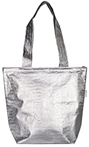 Sachi Insulated Fashion Lunch Bag, Style 161-128, Silver Tote