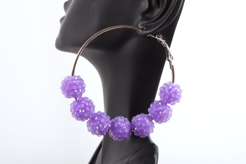 Neon Purple Shamballah 2.25 Inch Hoop Earrings with 7 Disco Balls Basketball Mob Wives Lady Gaga Poparazzi
