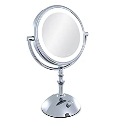 Moiom 8 Inch Double Sided 1X/ 10X Magnification LED Lighted Makeup Mirror,Brightness Adjustable,Polished Chrome Finish,With USB line