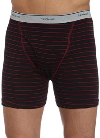 Fruit of the Loom Men's 4-Pack Stripe/Solid Assorted Boxer Briefs,Assorted,Small