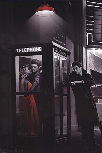 FRAMED Midnight Matinee Marilyn Monroe James Dean and Elvis Presley by Chris Consani 36x24 Art Print Poster Wall Decor Hollywood Romantic Movie Theatre Phone Booth (James Dean Wall Decor compare prices)