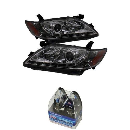 Carpart4U Toyota Camry Drl Led Projector Headlights & Koshin Platinum White Halogen Light Bulbs Package