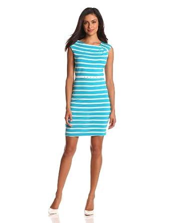 (超美)Calvin Klein 女士气质条纹连衣裙蓝白 Short Sleeve$27.47 送皮带有视频