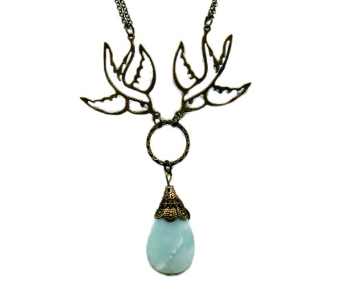 Amazonite and Brass Sparrows Antiqued Bronze Necklace 19 Inches