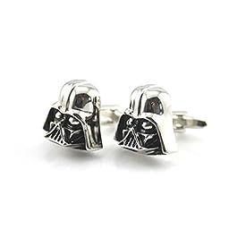 Black Silver Darth Vader Mask Helmet Dark Lord Sith Star Wars Men\'s Cufflinks