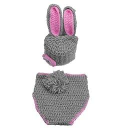 Eozy Baby Newborn Boy Girl Gray Bunny Rabbit Crochet Cotton Knit Aminal Beanie Cap Hats Diaper Cover Costume Set Photography Photo Prop