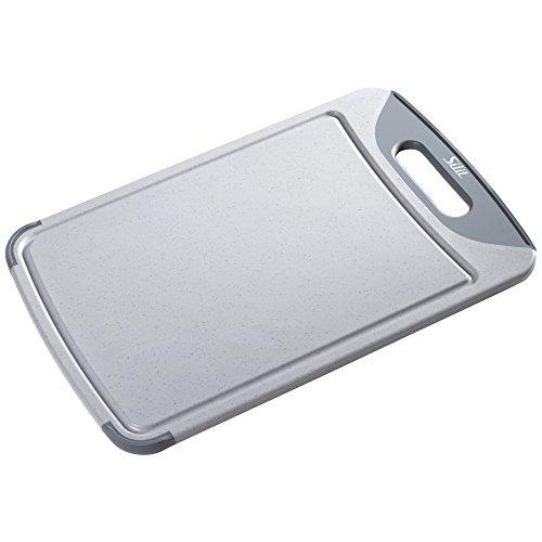 Silit 2142235347 Schneidebrett mit Saftrille und 1 Griff, hochwertiger Kunststoff, 38 x 25 cm, grau